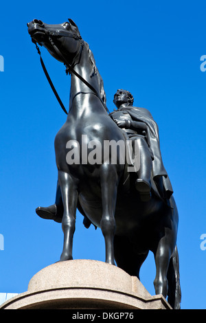 Statue of the Duke of Wellington which is situated outside the Bank of England in London. - Stock Photo