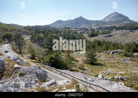 Views of Lovcen National Park with Njegos's Mausoleum in the distance, Montenegro, Europe - Stock Photo