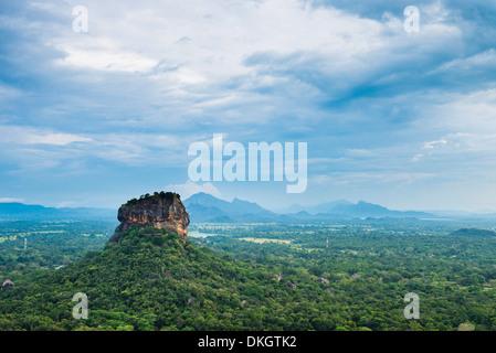 Sigiriya Rock Fortress, UNESCO World Heritage Site, seen from Pidurangala Rock, Sri Lanka, Asia - Stock Photo
