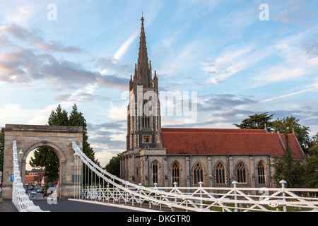 Marlow bridge leading past All Saints Church on to Marlow high street, Marlow, Buckinghamshire, England, United - Stock Photo