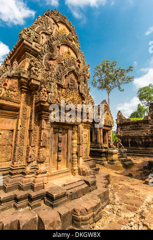 Banteay Srei Temple in Angkor, UNESCO World Heritage Site, Siem Reap Province, Cambodia, Indochina, Southeast Asia, - Stock Photo