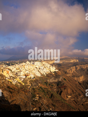 Evening view over Fira and the volcanic landscape, Santorini, Cyclades, Greek Islands, Greece, Europe - Stock Photo