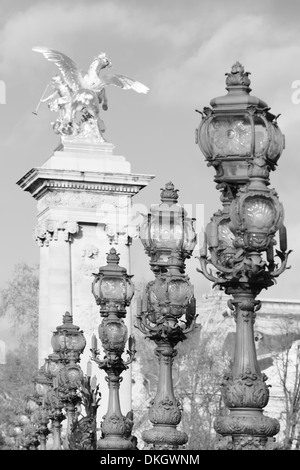 Pont Alexandre bridge, Paris, Ile de France, France, Europe - Stock Photo