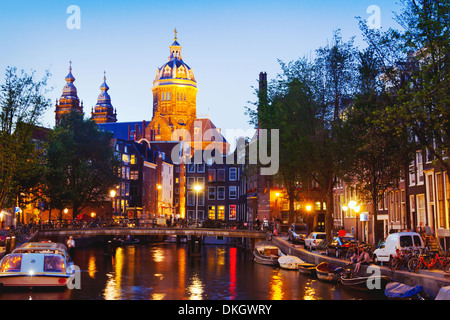 Amsterdam by night, Red Lights district, Netherlands - Stock Photo