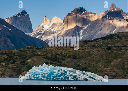 Iceberg on Lago Grey lake in the Torres del Paine National Park, Patagonia, Chile, South America - Stock Photo