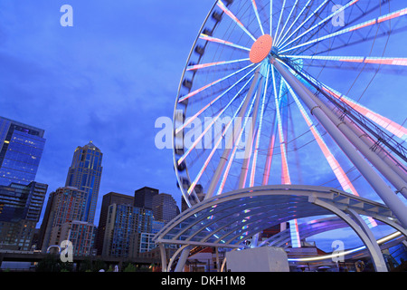 Seattle Great Wheel on Pier 57, Seattle, Washington State, United States of America, North America - Stock Photo