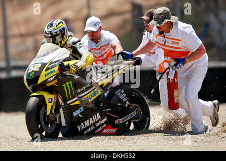 July 04, 2009 - Monterey, California, U.S - 04 July 2009: James Toseland, of Great Britain, picks up the #52 motorcycle - Stock Photo