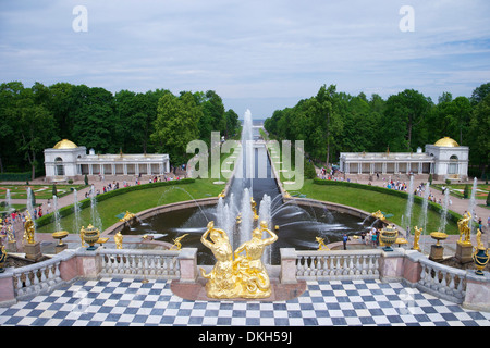Peterhof Fountains of the Grand Cascade and gardens in summer, Petrodvorets, St. Petersburg, Russia, Europe - Stock Photo
