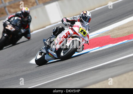 July 05, 2009 - Monterey, CA, USA - 05 July 2009: Randy De Puniet, of Maisons-Laffitte, France, rides the #14 motorcycle - Stock Photo