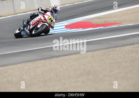 July 05, 2009 - Monterey, CA, USA - 05 July 2009:Randy De Puniet, of Maisons-Laffitte, France, rides the #14 motorcycle - Stock Photo