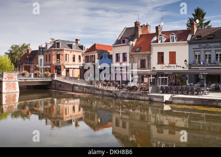 Shops and houses in the Saint Leu district of Amiens, Somme, Picardy, France, Europe - Stock Photo