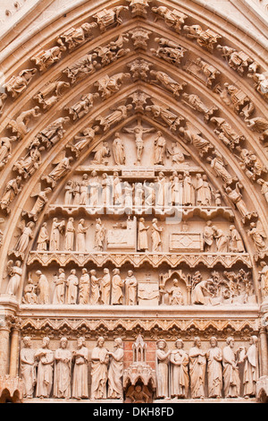 Statues on the tympanum of Notre Dame d'Amiens Cathedral, UNESCO World Heritage Site, Amiens, Somme, Picardy, France, - Stock Photo