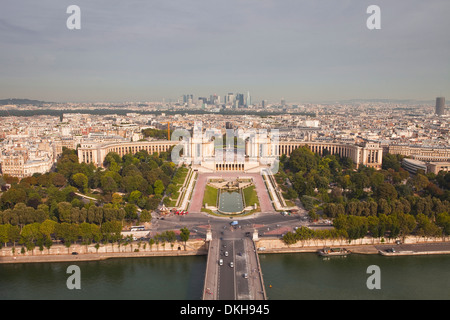 The Jardins du Trocadero from the Eiffel Tower in Paris, France, Europe - Stock Photo