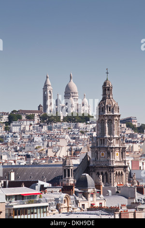 Looking over the rooftops of Paris to Sacre Coeur, Paris, France, Europe - Stock Photo