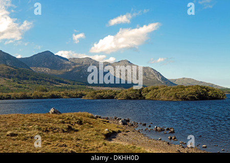 Bencorr viewed from across Lough Inagh, Connemara, County Galway, Republic of Ireland. - Stock Photo