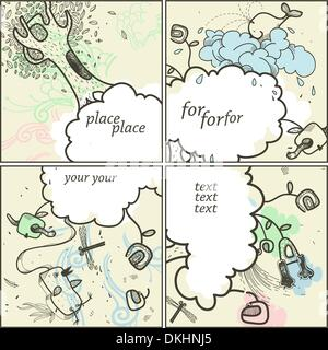 vector set of four hand drawn cards with fantasy clouds , cartoon animals and plants - Stock Photo