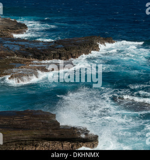 Rock formations on the coast, Makapuu Point, Oahu, Hawaii, USA - Stock Photo