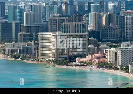 Buildings at the beachfront viewed from from Diamond Head, Waikiki, Kapahulu, Honolulu, Oahu, Hawaii, USA - Stock Photo