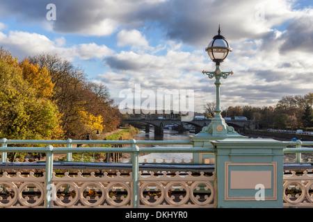 Three bridges - Twickenham road bridge and Richmond railway bridge view from the pedestrian footbridge at Richmond - Stock Photo