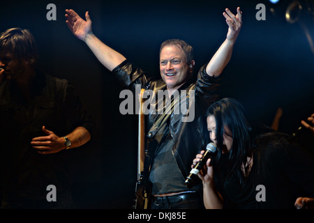 Actor Gary Sinise and the Lt. Dan Band perform at the DAR Constitution Hall during a concert for the Washington - Stock Photo