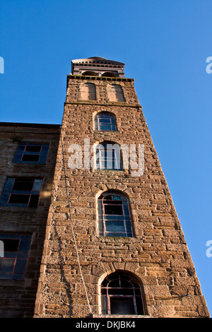 The 1800`s Jute Mill with a tall bell tower once owned by the Baxter Brothers and where Mary Slessor worked in Dundee, - Stock Photo