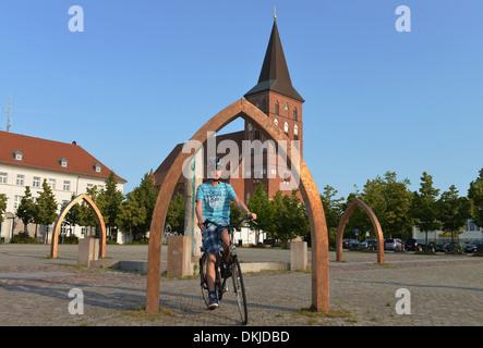 Marktplatz, Marienkirche, Pasewalk, Mecklenburg-Vorpommern, Deutschland - Stock Photo