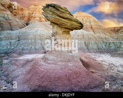 Balancing rock. Badlands National Park. South Dakota - Stock Photo