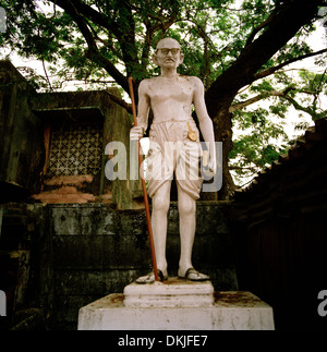 Mahatma Gandhi in Chennai Madras in Tamil Nadu in East india in South Asia. Carving Art Hero Heroes Independence - Stock Photo