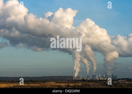 Brown coal opencast mining Garzweiler near Juechen coal power stations Frimmersdorf, North Rhine-Westphalia, Germany, - Stock Photo