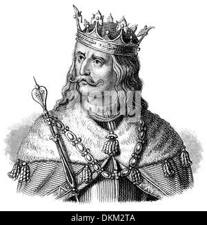 Portrait of George of Kunštát and Poděbrady or Poděbrad or Podiebrad, 1420 - 1471, King of Bohemia, leader of the - Stock Photo