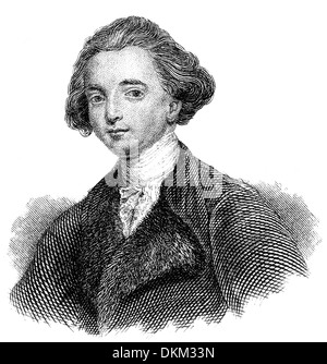 Portrait of Sir William Jones, 1746 - 1794, an Anglo-Welsh philologist and scholar of ancient India, - Stock Photo