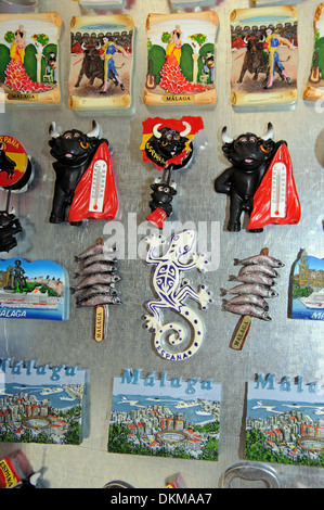 Souvenir fridge magnets, Malaga, Costa del Sol, Malaga Province, Andalucia, Spain, Western Europe. - Stock Photo