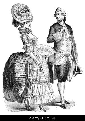 19th century XIX 1800s Court Costume - Stock Photo