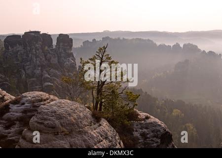 Bastion, Elbe Sandstone Mountains, Saxon, Germany, Europe - Stock Photo