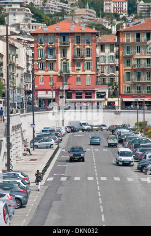 Highway and residential buildings in the coastal area of Nice, French Riviera, France - Stock Photo