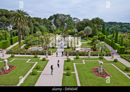 Beautiful gardens of Villa Ephrussi de Rothschild, Nice, French Riviera, France - Stock Photo