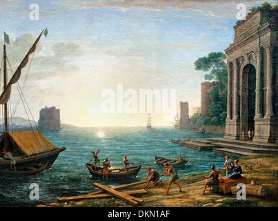 A Seaport at Sunrise by Claude Lorrain - Claude Gellée 1604/1605–1682)  France French - Stock Photo