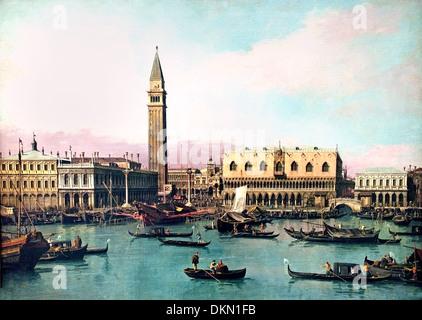 The Riva degli Schiavoni Piazza San Marco Venice  Antonio Canaletto 1697-1768 Italy Italian - Stock Photo