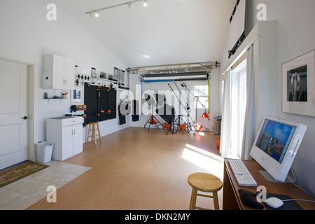 Wide angle panorama view of photographic studio of H. Mark Weidman - Stock Photo