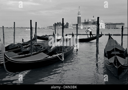 VENICE - APR 30:The Island of San Giorgio Maggiore with Venetian Gondolas in the foreground on April 30 2011 in - Stock Photo