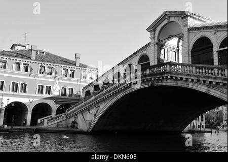 The Rialto Bridge over the grand canal in Venice ,Italy (BW) - Stock Photo