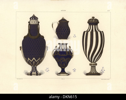 Vases And Jugs With Blue And Gold Decoration Vase And Jug With Gold