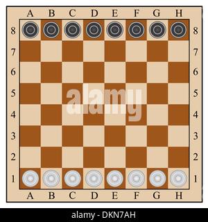 classic checkers, board and checkers.  illustration - Stock Photo