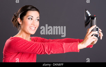 Self Portrait Woman Takes Selfie Picture - Stock Photo