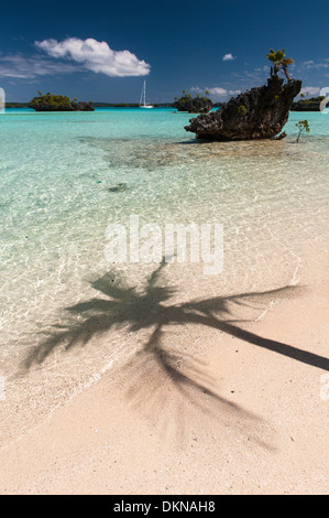 Shadow of a coconut palm tree on a tropical beach, a cruising yacht at anchor and views of limestone motus, small - Stock Photo