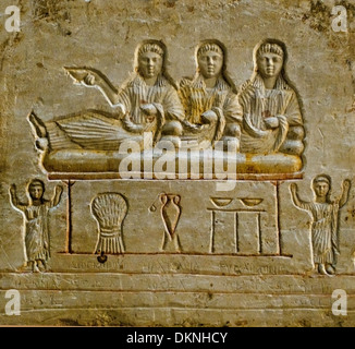 Three tomb stelae in classical style Terenouthis  200-350 Ad Egypt Graeco Greek Roman - Stock Photo