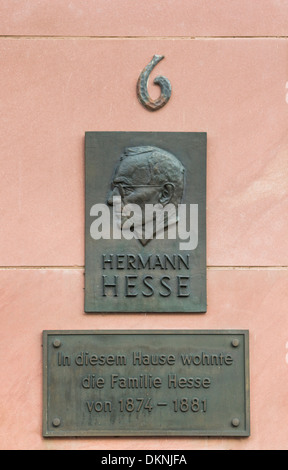 memorial plaque at the house where german writer and nobel prize laureate hermann hesse was born, calw, black forest - Stock Photo