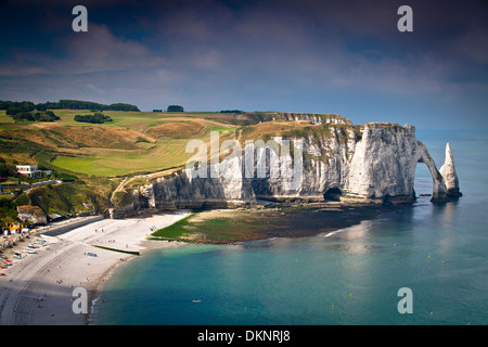 Cliffs, natural arch and stone beach. Etretat, Le Havre, Seine-Maritime, Normandy, France, Europe - Stock Photo