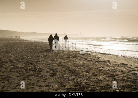People walking on the beach at zandvoort in the netherlands - Stock Photo