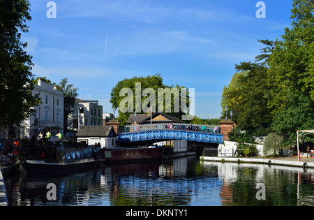 Bridge over Grand Union canal, Little Venice, Maida Vale, London, United Kingdom - Stock Photo